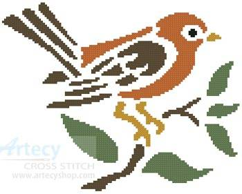 cross stitch pattern Little Brown Bird