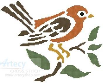 cross stitch pattern Little Brown Bird