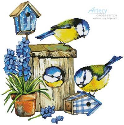 cross stitch pattern Birdhouse Beauties