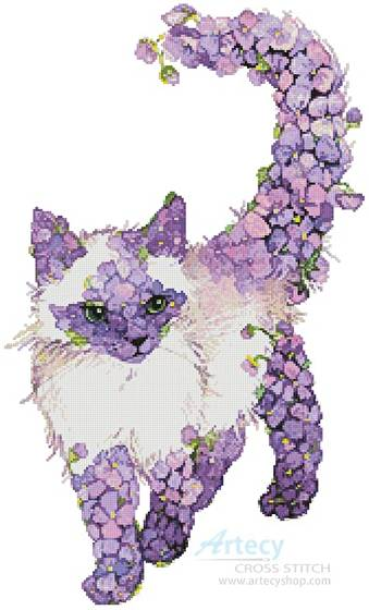 cross stitch pattern Lilac Cat
