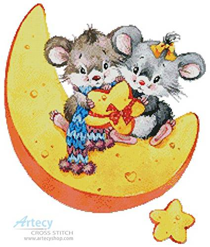 cross stitch pattern Mice on a Cheese Moon