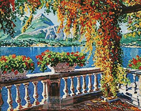 cross stitch pattern Lake Como
