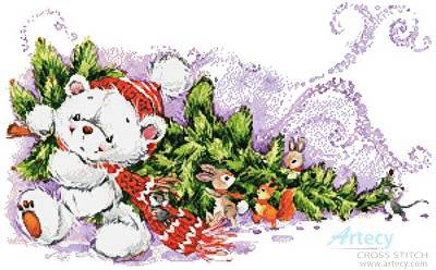 cross stitch pattern Christmas Teddy and Friends