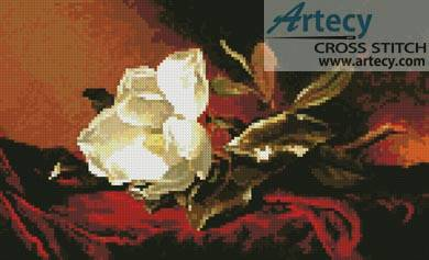 cross stitch pattern Magnolia on Red Velvet
