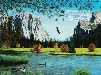 cross stitch pattern Autumn in Yosemite Valley