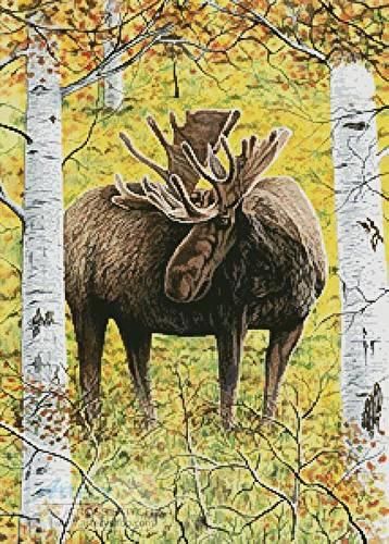cross stitch pattern Moose in the Meadow