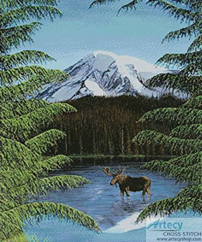 cross stitch pattern Moose near Mt Rainier