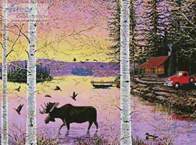 cross stitch pattern Moose Lake
