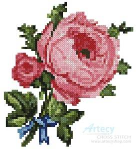 cross stitch pattern Mini Blue Ribbon Rose
