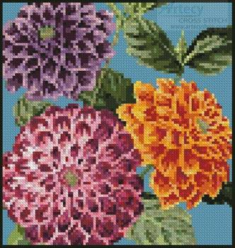 cross stitch pattern Mini Dahlias