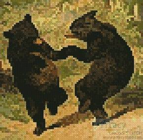 cross stitch pattern Mini Dancing Bears