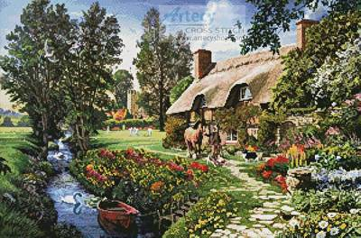 cross stitch pattern Cricketers Cottage