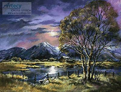 cross stitch pattern Moonlight over the Valley