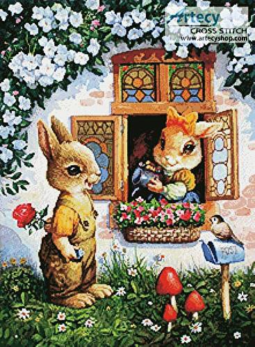 cross stitch pattern Rabbits Watering the Flowers