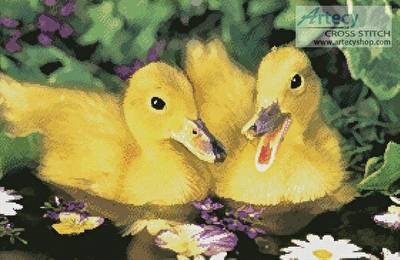 cross stitch pattern Two Ducklings