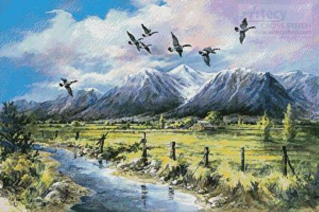 cross stitch pattern Wings over the Valley