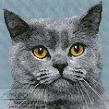 cross stitch pattern Mini British Shorthair Cat