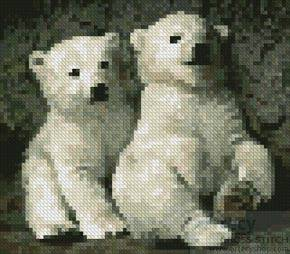 cross stitch pattern Mini Polar Bear Cubs 2