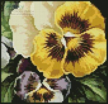 cross stitch pattern Mini Pansies 2