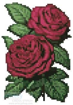 cross stitch pattern Mini Pink Roses 5