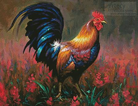 cross stitch pattern Colourful Rooster