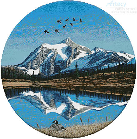cross stitch pattern Mount Shuksan Round