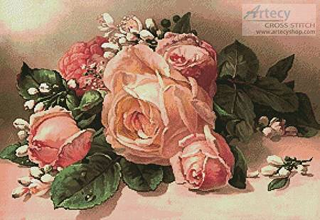 cross stitch pattern Pink and Apricot Roses