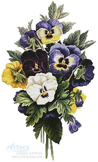 cross stitch pattern Pansy Bouquet