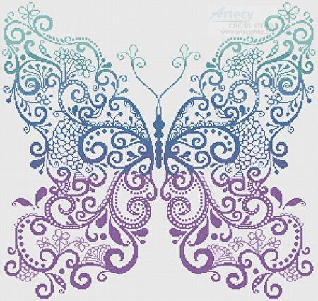 cross stitch pattern Purple Blue Green Butterfly