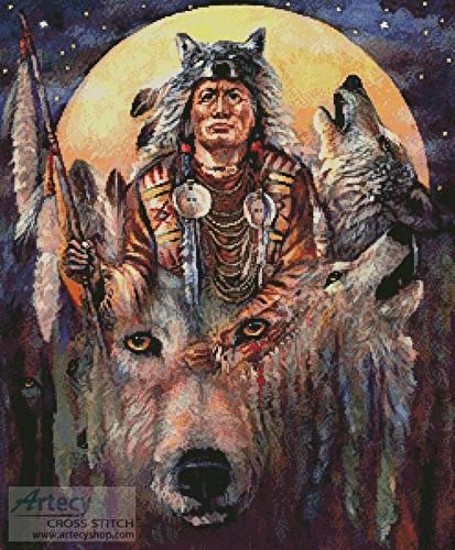 cross stitch pattern Invoking the Wolf Spirit