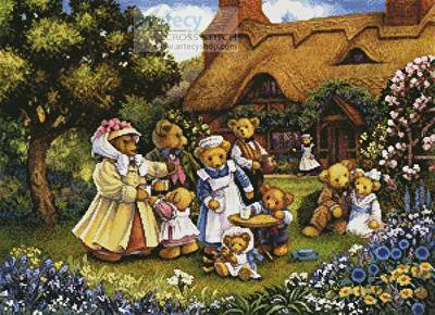 cross stitch pattern Teddies in the Garden