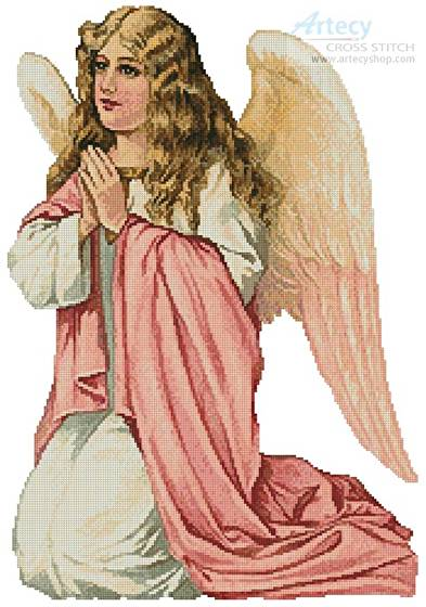 cross stitch pattern Pink Angel