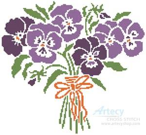 cross stitch pattern Pansy Nosegay