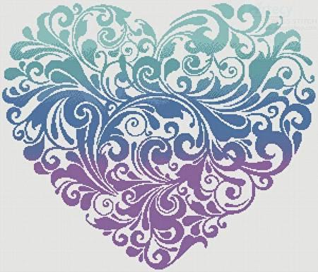 cross stitch pattern Purple Blue Green Heart