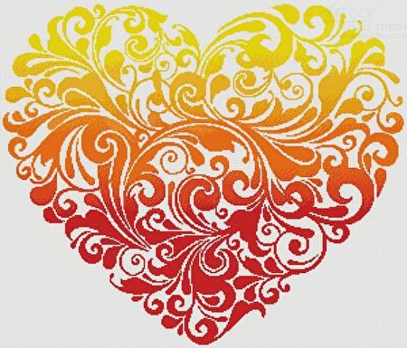 cross stitch pattern Red Orange Yellow Heart
