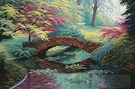 cross stitch pattern The Red Stone Bridge