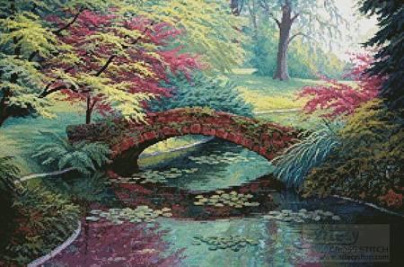 cross stitch pattern The Red Stone Bridge