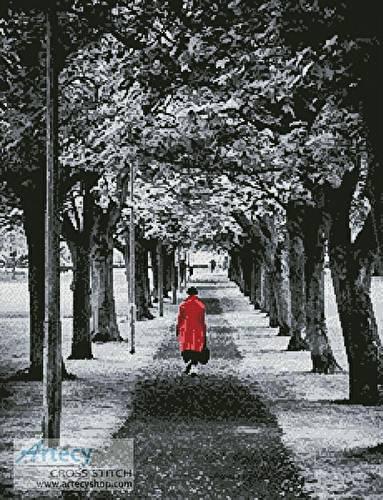 cross stitch pattern Red Coat