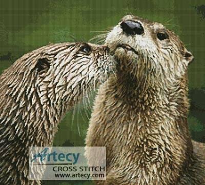 cross stitch pattern River Otters
