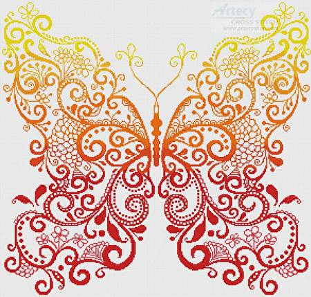 cross stitch pattern Red Orange Yellow Butterfly