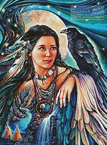 cross stitch pattern Raven Maiden