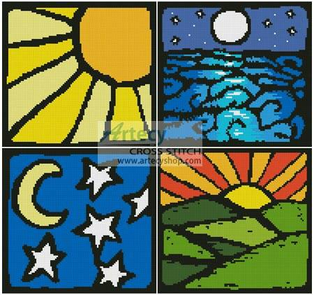 cross stitch pattern Sun and Moon Sampler
