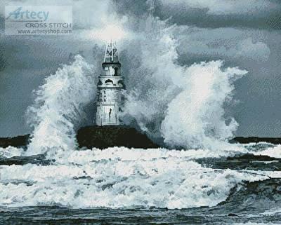 cross stitch pattern Storm and Lighthouse
