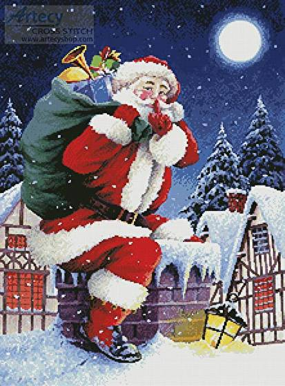 cross stitch pattern Santa's Here