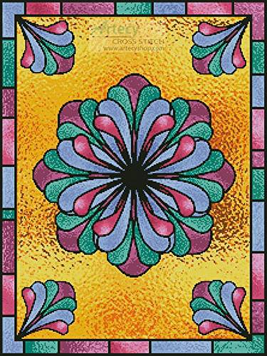 cross stitch pattern Stained Glass Floral 1