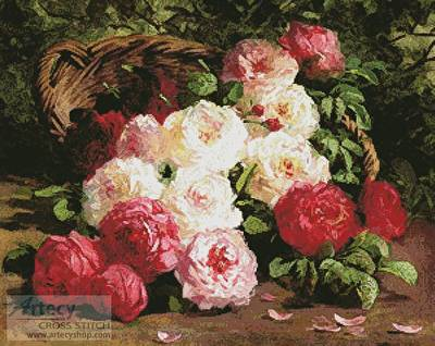 cross stitch pattern Still Life with Roses in a Basket