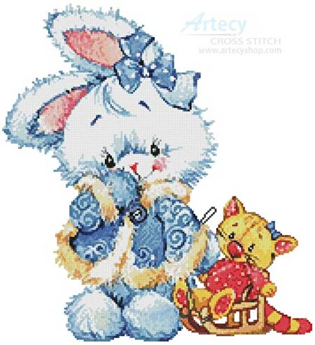 cross stitch pattern Snow Bunny