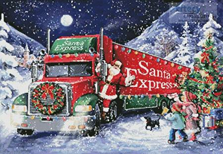 cross stitch pattern Santa Express