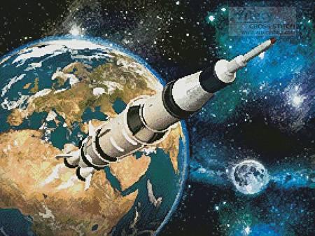 cross stitch pattern Space Rocket