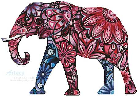 cross stitch pattern Stylized Elephant
